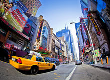 42nd Street. NEW YORK - SEPT 22: Times Square and 42nd Street  is a busy tourist intersection of neon art and commerce and is an iconic street of New York City Royalty Free Stock Image