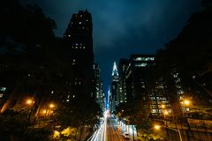 42nd Street at night, seen from Tudor City in Midtown Manhattan, New York City.  royalty free stock photos