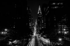 42nd Street at night, seen from Tudor City in Midtown Manhattan, New York City.  stock photography