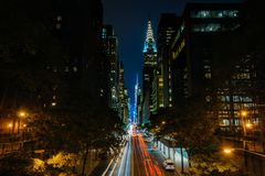 42nd Street at night, seen from Tudor City in Midtown Manhattan, New York City.  royalty free stock images