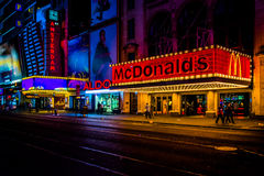 42nd Street at night, in Times Square, Midtown Manhattan, New Yo stock photography