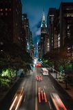 42nd Street at night from Tudor City, in Midtown Manhattan, New York City royalty free stock image