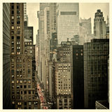 42nd Street. Rush hour on 42nd Street in New York City with Instagram effect filter royalty free stock image