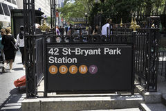 42nd Street Station. New York, NY USA -- Aug 3, 2016  Bryant Park  Entranceway to the New York City subway system. Editorial Use Only Stock Photo