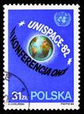 2nd UN konferencja na Pokojowym, kula ziemska, seria, około 1982 obraz stock