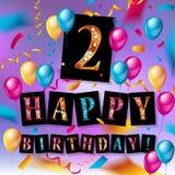 2nd Urodzinowy świętowania kartka z pozdrowieniami projekt royalty ilustracja