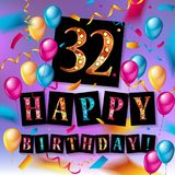 32nd years Anniversary logo. With colorful abstract background, vector design template elements for invitation card and poster your birthday celebration Royalty Free Illustration