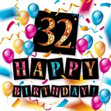 32nd years Anniversary logo. With colorful abstract background, vector design template elements for invitation card and poster your birthday celebration Stock Illustration