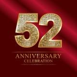 52nd years anniversary logotype disco style. 52 years anniversary celebration logotype red background. Anniversary disco style stock illustration