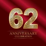62nd years anniversary logotype disco style. 62 years anniversary celebration logotype red background. Anniversary disco style royalty free illustration