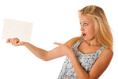 Nde woman holding a blank white board in her hands for promotion Stock Images