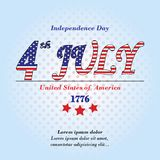 Ndependence Day card. 4 th july background with text, blue gradient and stars isolated. USA Holiday pattern illustration.  Royalty Free Stock Photos