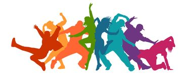 Detailed illustration silhouettes of expressive dance people dancing. Jazz funk, hip-hop, house dance lettering. Dancer. NDetailed illustration silhouettes of royalty free illustration