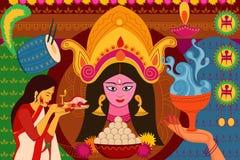 Índia feliz da arte do kitsch do fundo do festival de Durga Puja Imagens de Stock