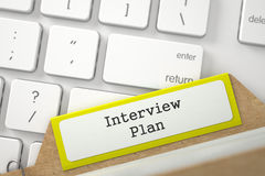 Índice de tarjeta con plan de la entrevista 3d Imagenes de archivo