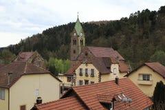 Ndigungskirche del ¼ de VerkÃ, iglesia del aviso, iglesia en Eschbourgh en la parte de la ciudad de Graufthal, Alsacia Francia Imagen de archivo libre de regalías