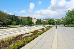 NDK Park in Sofia, Bulgaria. SOFIA, BULGARIA - CIRCA AUGUST 2013 - People walking in NDK park in the center of Sofia, the capital of Bulgaria on a sunny day Stock Photo