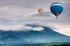 Ndonesia with hot air travel balloon Royalty Free Stock Photo