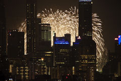 NDP 2009 Preview-Cityscape Fireworks Royalty Free Stock Photography
