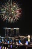 NDP 2010: Feuerwerke am Merlion Park Lizenzfreie Stockfotografie