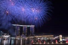 NDP 2010: Fuochi d'artificio alla sosta di Merlion Immagine Stock