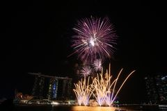 NDP 2017 fireworks MBS. Night Royalty Free Stock Images