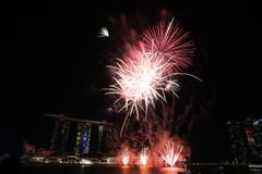 NDP 2017 fireworks MBS. Night Royalty Free Stock Photo
