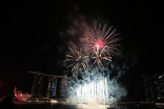 NDP 2017 fireworks MBS. Night Stock Photo