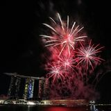 NDP 2017 fireworks MBS. Singapore Stock Image