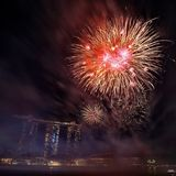 NDP 2017 fireworks MBS. Singapore Stock Photography
