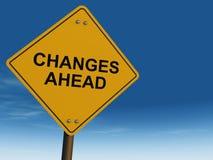 ändra framåt vägmärket Fotografering för Bildbyråer