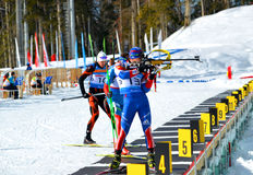 Ndrey Tyrgenev, Alexander Shreider competes in IBU Regional Cup Royalty Free Stock Photos