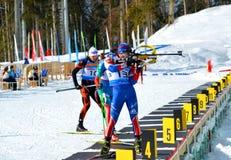 Ndrey Tyrgenev, Alexander Shreider konkurriert in regionaler Schale IBU Lizenzfreie Stockfotos