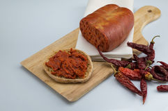 Nduja salami chilli and bruschetta. Nduja chilli and bruschetta on white background royalty free stock photos