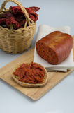 Nduja, spreadable salami. Nduja, Italian salami typical of Calabria, spreadable salami royalty free stock images
