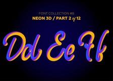 Neón 3D compuesto tipo con formas redondeadas Sistema de la fuente de letras pintadas Fotografía de archivo