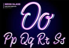 Neón 3D que brilla intensamente compuesto tipo Sistema de la fuente de las letras de cristal Rosa brillante libre illustration
