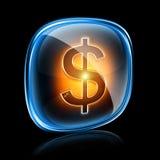 Neón del icono del dólar. stock de ilustración