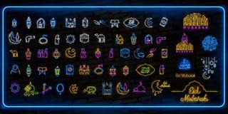 Neón del sistema del icono de Ramadan Kareem Plantilla del diseño, elementos del diseño Ramadan Kareem - mes glorioso del año mus ilustración del vector