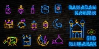 Neón del sistema del icono de Ramadan Kareem Plantilla del diseño, elementos del diseño Ramadan Kareem - mes glorioso del año mus stock de ilustración