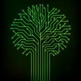 Neón del verde del árbol del circuito Foto de archivo