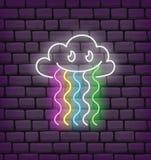 Neón lindo del kawaii de la nube y del arco iris ilustración del vector