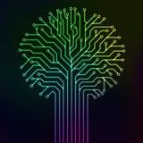 Neón multicolor del árbol del circuito Imagen de archivo libre de regalías