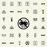 ne conduisez pas sur l'icône de rails Ensemble universel d'icônes ferroviaires d'avertissements pour le Web et le mobile illustration libre de droits