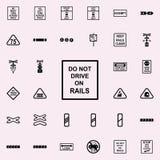 ne conduisez pas sur l'icône de rails Ensemble universel d'icônes ferroviaires d'avertissements pour le Web et le mobile illustration stock