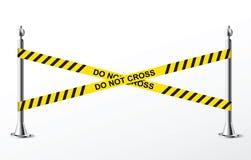 Ne croisez pas la police jaune attachent du ruban adhésif. Vecteur Image libre de droits