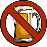 Ne dirigez aucune illustration d'isolement par signe de bière avec le fond blanc illustration stock