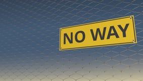 Ne jaunissez AUCUN signe de MANIÈRE un grillage contre le ciel bleu, l'animation 3D illustration de vecteur