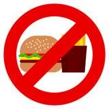 Ne mangez pas des aliments de préparation rapide et ne buvez pas le signe d'interdiction de soude illustration de vecteur