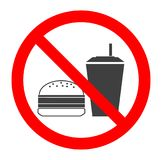 Ne mangez pas et ne buvez pas le symbole Aucune consommation ou boire, signe d'interdiction Illustration de vecteur illustration libre de droits